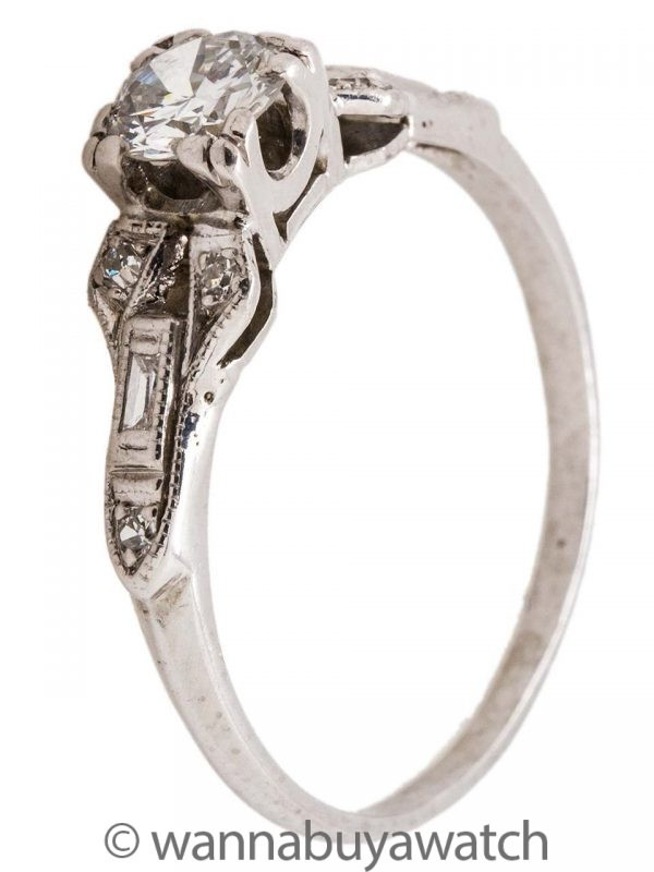 Vintage Engagement Ring Platinum 0.35ct Transitional Cut H/SI1