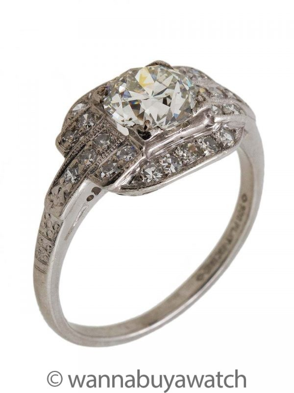 Vintage Art Deco Platinum Diamond Engagement Ring 1.00ct H-VS2 Circa 1930s