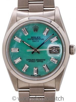 Rolex Oyster Perpetual Date ref 15200 Custom MOP Baguette Dial circa 1991
