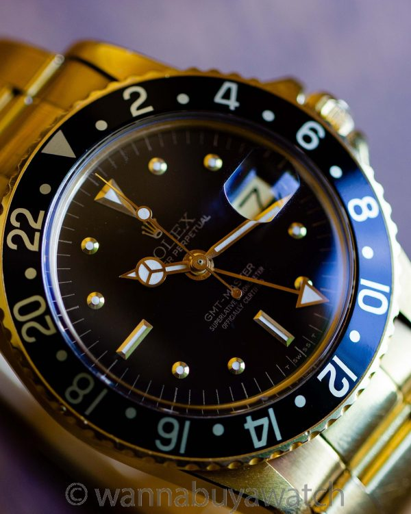 Rolex GMT ref 1675 18K YG Oyster Bracelet circa 1977