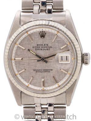 Rolex Datejust SS/14K WG Linen Dial ref 1601 circa 1977