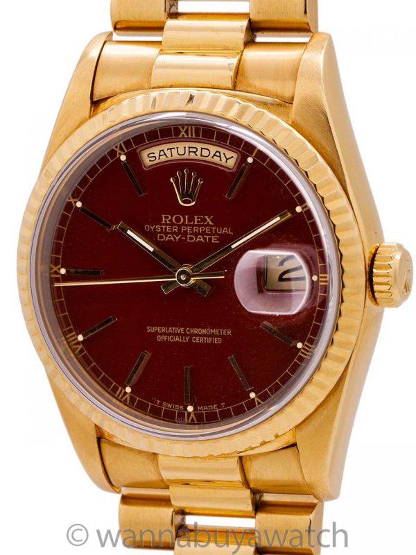 "Rolex President ref 18238 18K YG ""Stella Dial"" circa 1990 B & P"