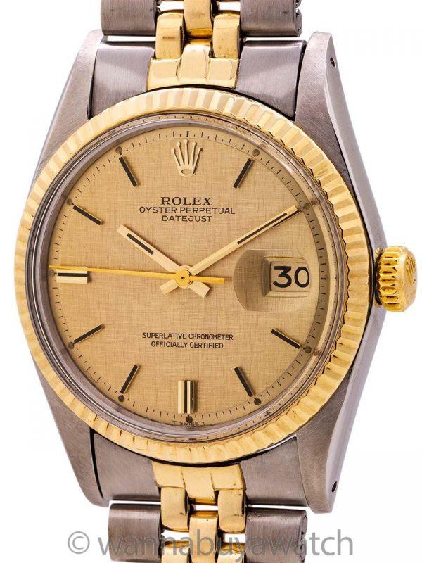 Rolex Datejust ref 1601 SS/14K YG Linen Dial circa 1972
