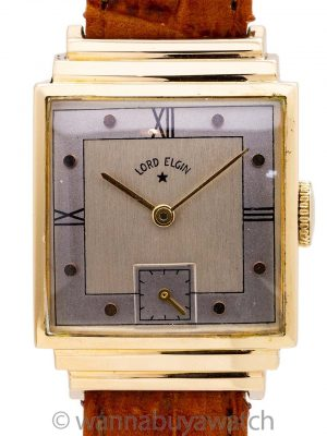 Lord Elgin 14K YG Art Deco Stepped Case circa 1950's