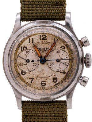 Heuer Vintage Military Chronograph Stainless Steel circa 1940's