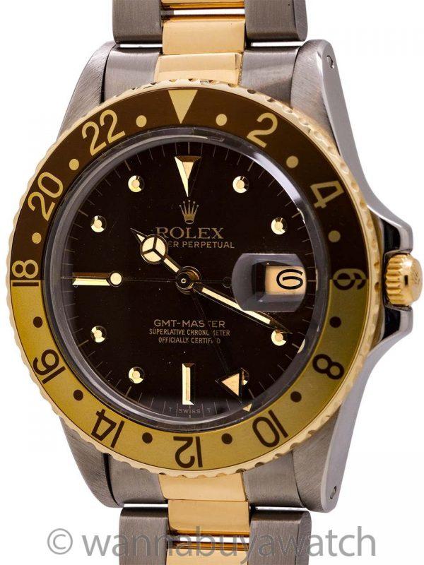 Rolex GMT SS/14K YG ref 16753 Rootbeer circa 1982