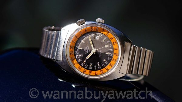 "Glycine Airman SST Automatic 24 Hour Vietnam Era aka ""Pumpkin"" with Bracelet circa 1969"