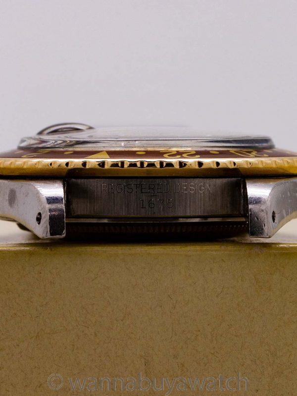 "Rolex GMT ref 1675 SS/14K  ""Chocolate"" circa 1969 Box & Paperwork!"