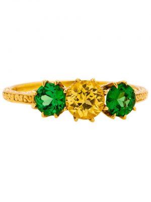 Engraved Three Stone Engagment Ring 18K YG Tsavorite Garnet Yellow Sapphire