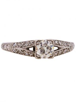 Vintage Engagement Ring 18K WG 0.40ct Old European Cut Diamond circa 1930s