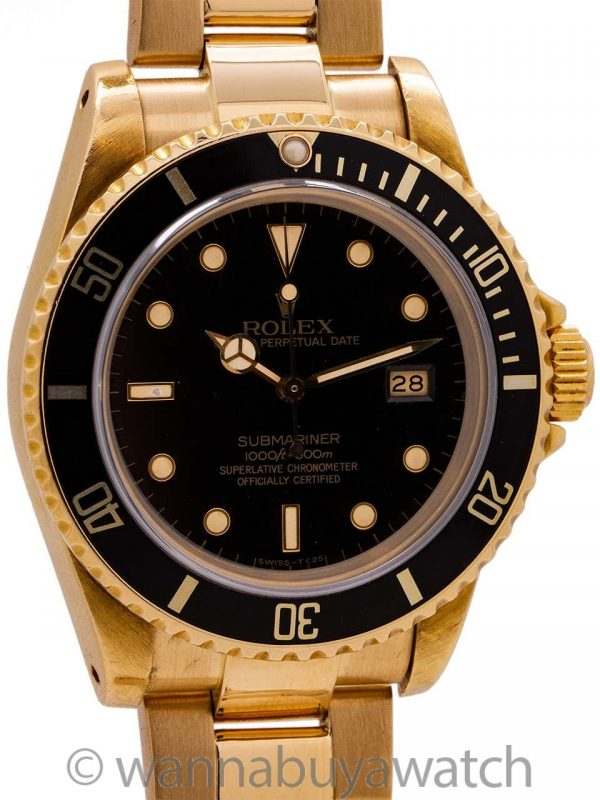 Rolex Submariner ref 16808 18K YG Transitional model circa 1982