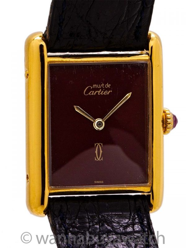 Cartier Tank Louis Man's Vermeil Burgundy Ruby Crown circa 1980's