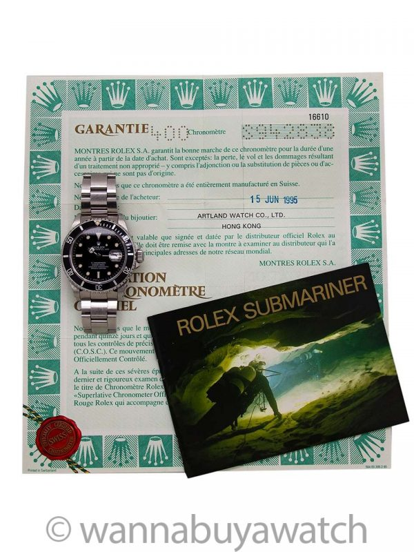 Rolex Submariner ref. 16610 Tritium circa 1995 Full Set