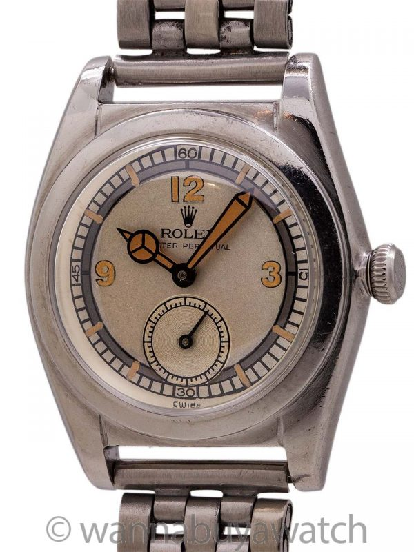 Rolex SS Bubbleback Subsidiary Seconds Sector Dial circa 1940's