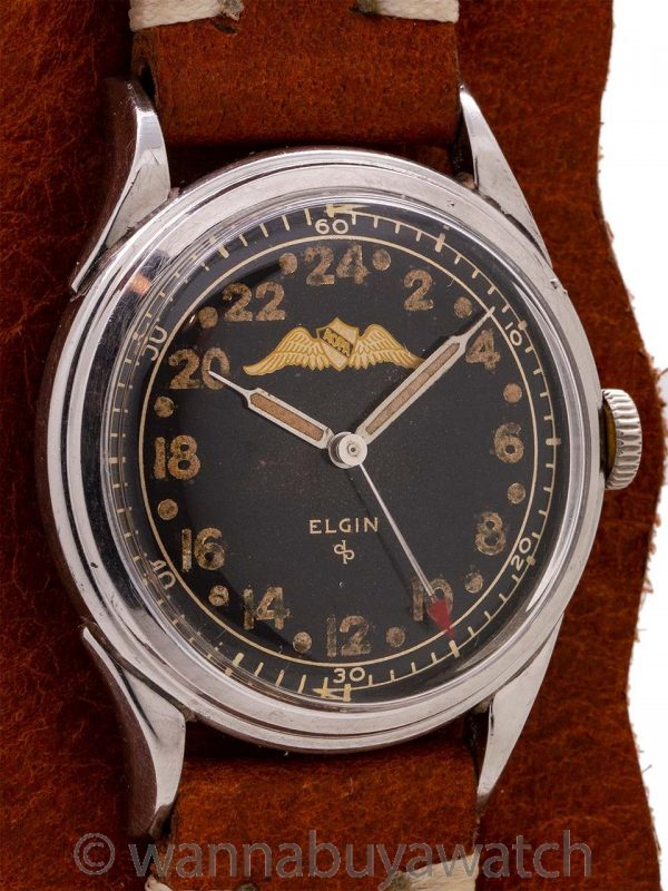 Elgin AOPA 24 Hour Stainless Steel circa 1951 Pre Navitimer