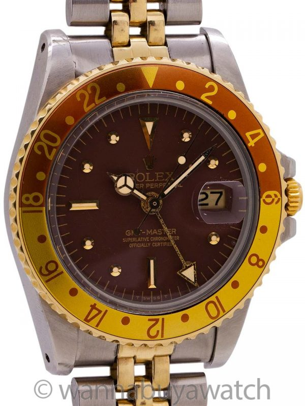 "Rolex 2 Tone GMT ref 1675 ""Chocolate"" circa 1977 Original Owner"