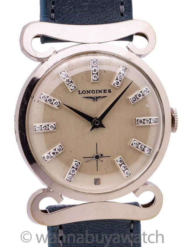 Longines 14K WG Mustache Lugs Diamond Set circa 1950's