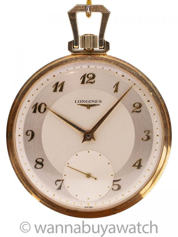 Longines 14K YG Open Face Pocket Watch circa 1957