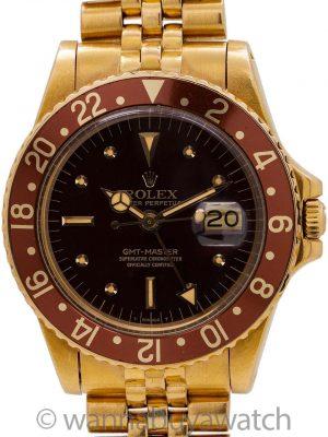 Rolex GMT ref 1675 18K YG circa 1978 Exquisite!