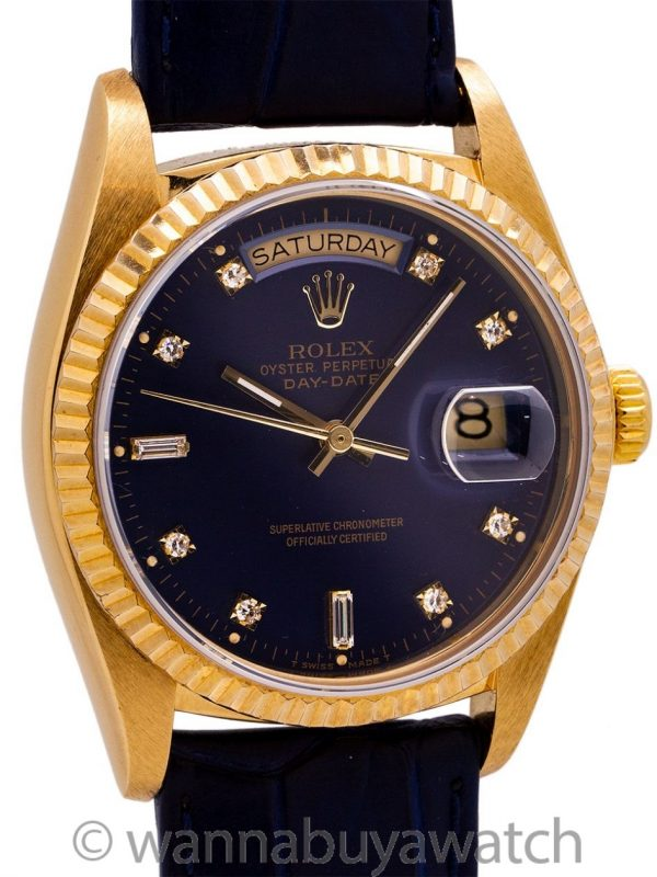Rolex ref 18038 Factory Blue Diamond Dial circa 1978 MINT!