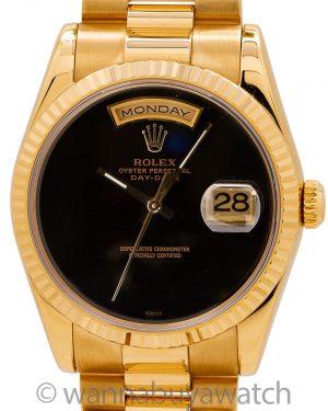 Rolex 18K YG Day Date ref 118238 Onyx Dial circa 2003