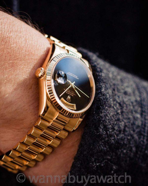 Rolex 18K YG Day Date ref 18238 Factory Onyx Dial circa 1993