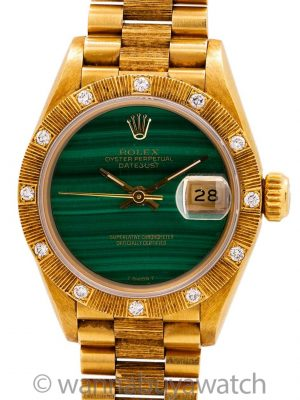 Rolex Lady Bark President ref 69278 Malachite Dial circa 1991 Box & Papers
