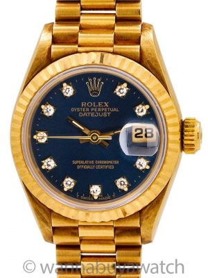 Rolex Lady President ref 69178 Blue Diamond Dial circa 1993 Box & Papers