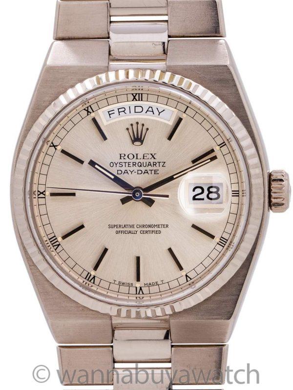 Rolex 18K WG Oyster Quartz Day Date  ref 19018 circa 1980