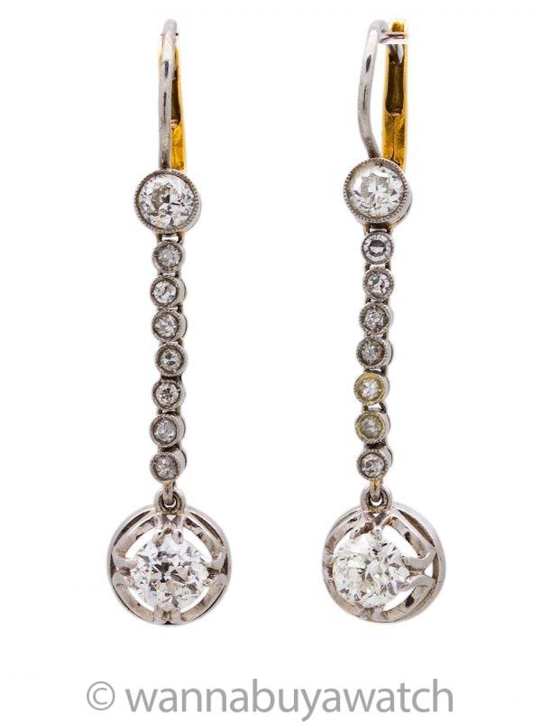 Vintage Earrings 18K WG & 1.00-1.10ctw