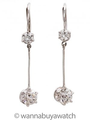 Platinum & Diamond Earrings 1.5 Ct TW