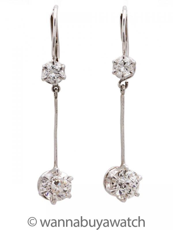 Platinum & Diamond Earrings 1.5 Ct TW