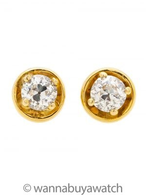 Vintage Diamond Stud Earrings Old European Cut 1.00ct F-G/VS1