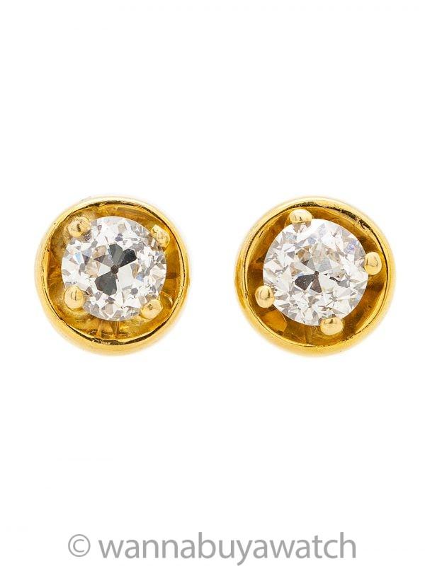 Vintage Diamond Stud Earrings Old European Cut 1.00ct F-G/VS1