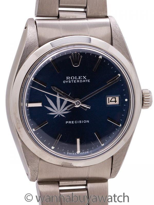 Rolex SS Oysterdate Precision Ref. 6694 Cannabis Logo 1969