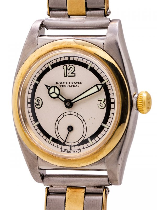 Rolex SS/YG Bubbleback ref 3132 Subsidiary Seconds Sector Dial circa 1938