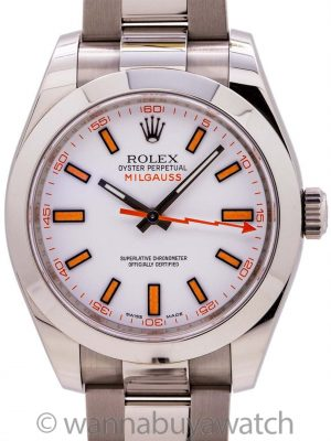 Rolex Milgauss ref 116400 White Dial circa 2015 Box & Papers