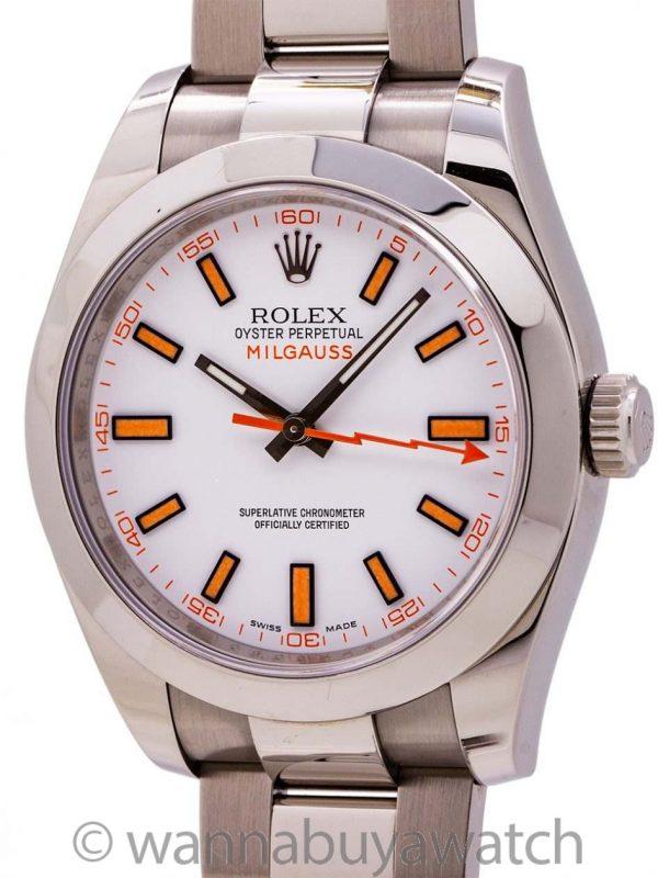 Rolex Milgauss ref 116400 White Dial circa 2015 Box & Papers
