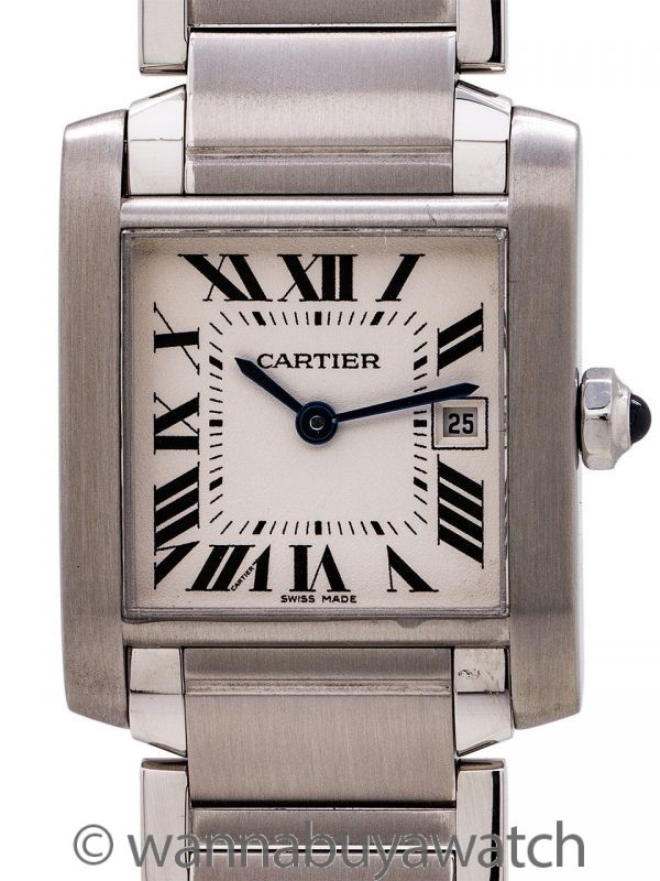 Cartier Tank Francaise MIdsize Stainless Steel circa 2000's