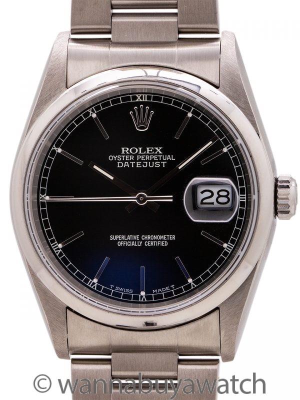 Rolex Stainless Steel Datejust ref 16200 Black Dial circa 2000