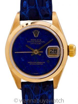 Lady Rolex Datejust ref 6916 18K YG Lapis Dial circa 1973