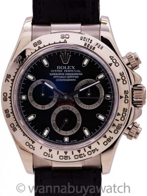 Rolex Daytona 18K WG ref 116519 circa 2006 Box and Papers