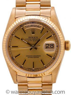 Mint Rolex Day Date President 18K YG ref 18038 circa 1987