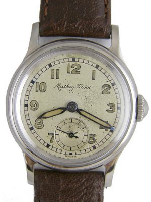 Matthey Tissot Stainless Steel Miltary Style circa 1940's