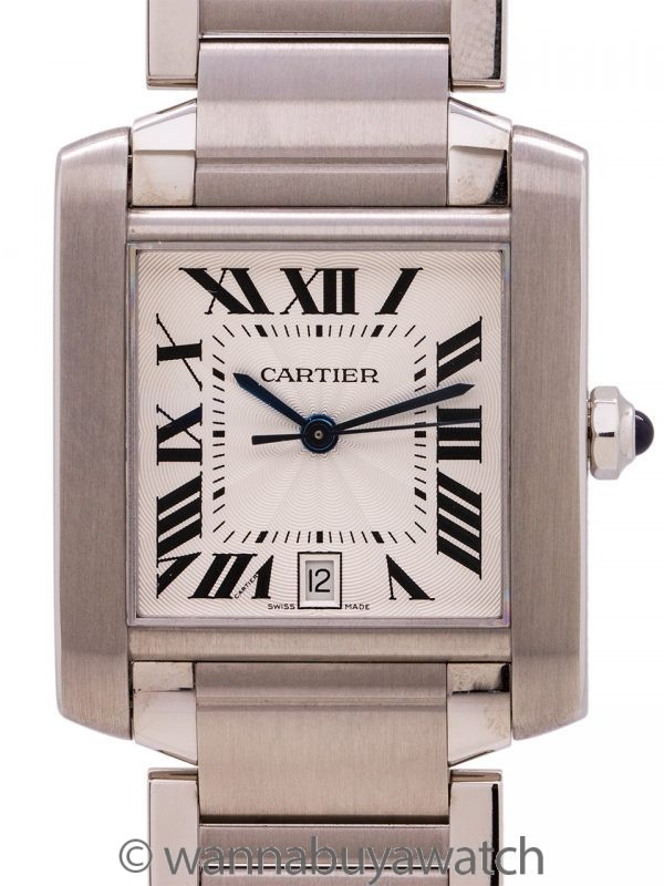 Cartier SS Tank Francaise Man's Automatic circa 2000's Box & Papers