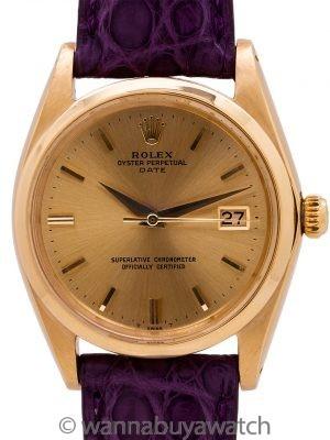Rolex Oyster Perpetual Date ref 1500 18K YG circa 1964