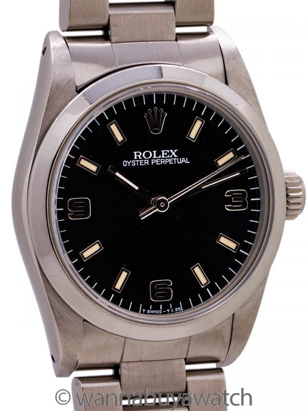 Rolex Oyster Perpetual Midsize Black ref 67480 circa 2000 with Papers