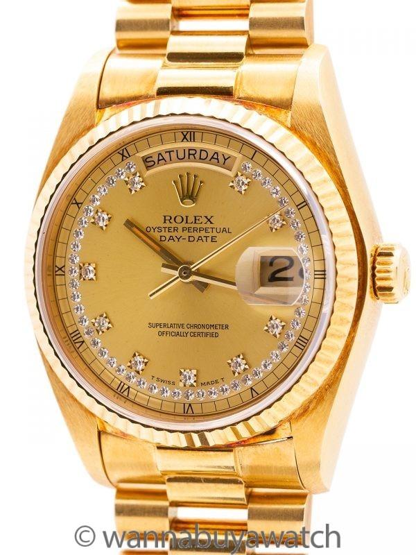 Rolex Day Date President ref 18038 18K YG Diamond String Dial circa 1978 Mint!