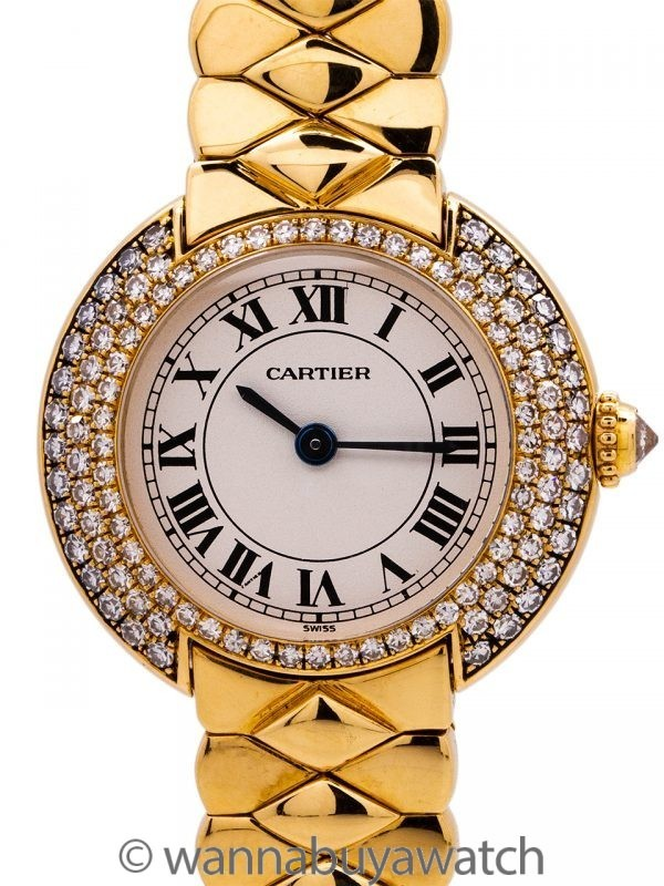 Ladies Cartier Vendome 18K YG Diamond Bezel Quartz circa 2010's