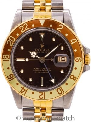 Rolex GMT ref 16753 SS/18K YG Rootbeer circa 1985 w/ Box & Papers